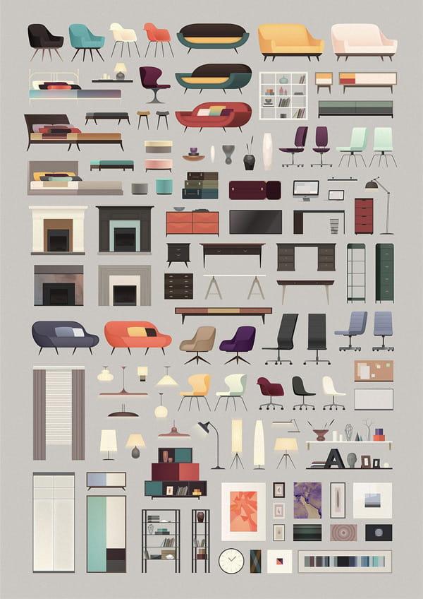 Poster đồ nội thất theo phong cách Bắc Âu