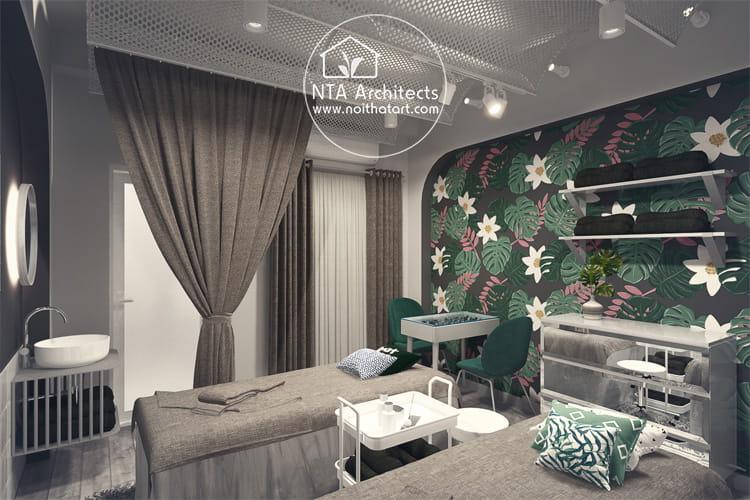 Mẫu thiết kế phòng spa mini 2 giường dành cho dịch vụ nối mi, xăm chân mày, chăm sóc da cơ bản