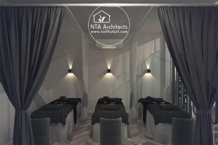 Một thiết kế phòng spa mini 3 giường với tổng mức đầu tư vào khoảng 120 triệu