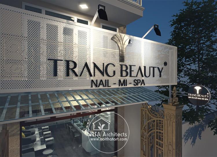 Thiết kế bảng hiệu Trang Beauty chuyên về Nail, Nối Mi và các dịch vụ Spa