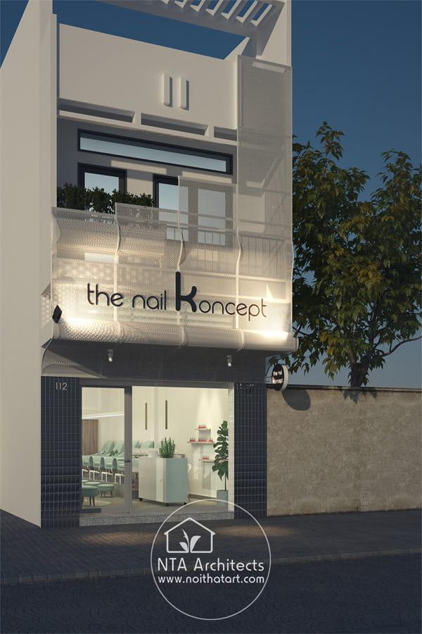 Mẫu thiết kế ngoại thất và bảng hiệu tiệm The Nail Koncept