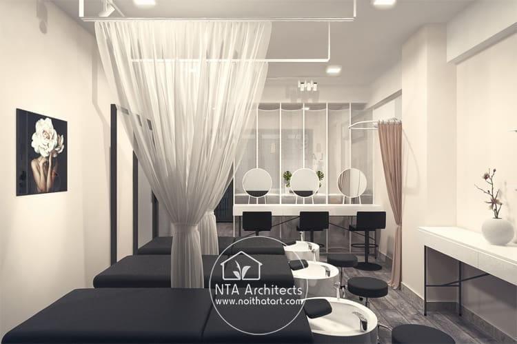Mẫu thiết kế phòng gội đầu dưỡng sinh trong một spa mini phong cách Zen
