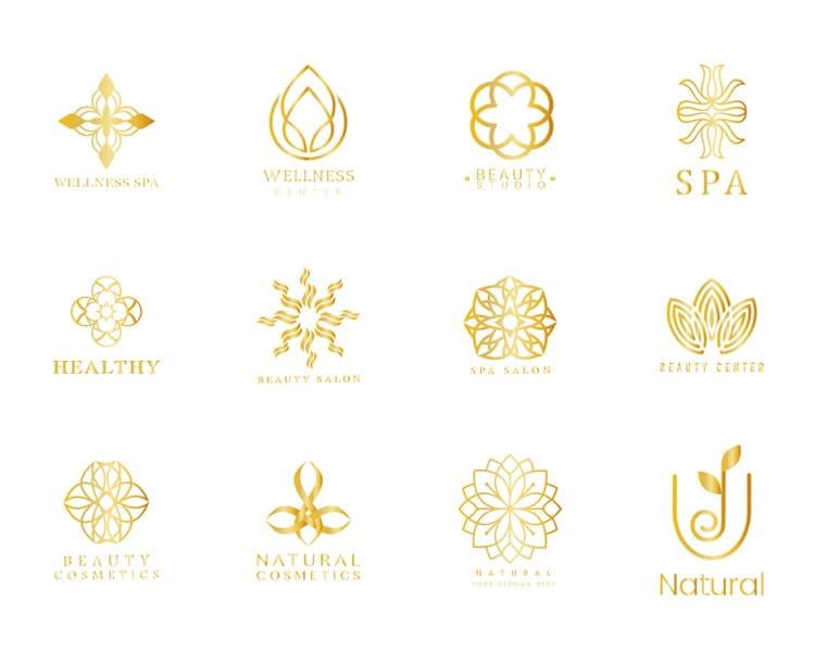 Xu hướng thiết kế logo spa và salon nail tông màu vàng kim