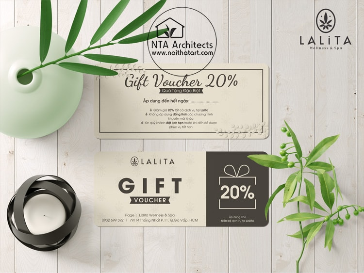 Mẫu thiết kế gift voucher cho spa do team Nội Thất Art thực hiện