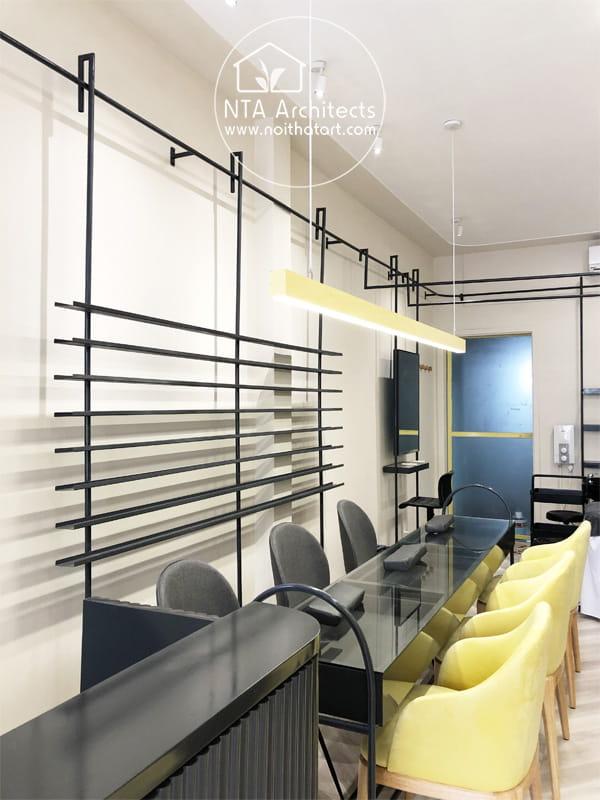 Bộ bàn làm nail và 6 ghế với thiết kế tối giản