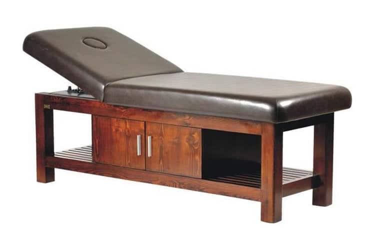 Mẫu giường spa massage chân gỗ tự nhiên sơn màu nâu