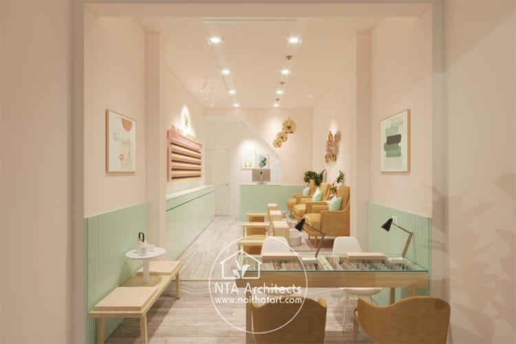 Mẫu thiết kế tiệm nail kết hợp các tông màu pastel nhẹ nhàng thư giãn